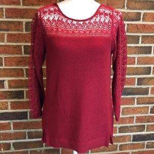 NWT Lucky Brand Red Crocheted Top Size Small